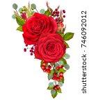 floral background. garland of... | Shutterstock . vector #746092012