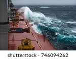 ship at storm in north pacific | Shutterstock . vector #746094262