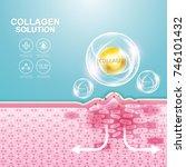 collagen solution serum drop... | Shutterstock .eps vector #746101432
