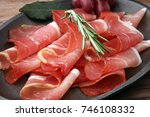 prosciutto with rosemary  or... | Shutterstock . vector #746108332