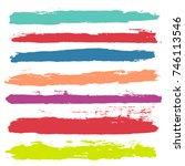 brush strokes set backgrounds.... | Shutterstock .eps vector #746113546