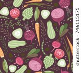 seamless pattern with vegetables | Shutterstock .eps vector #746115175