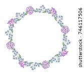 watercolor wreath of flowers... | Shutterstock . vector #746117506