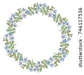 watercolor wreath of flowers... | Shutterstock . vector #746117536