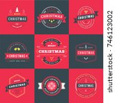 set of merry christmas and... | Shutterstock .eps vector #746123002