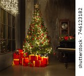 grand piano with christmas tree ... | Shutterstock . vector #746123182