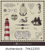 vector set  nautical design... | Shutterstock .eps vector #74612353