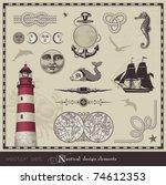 vector set  nautical design... | Shutterstock .eps vector #74612353