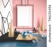 3d render mock up scene with... | Shutterstock . vector #746131456