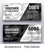 template of gift voucher with... | Shutterstock .eps vector #746136646