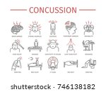concussion. symptoms  treatment.... | Shutterstock . vector #746138182