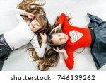 beautiful kids listen to music... | Shutterstock . vector #746139262