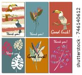 set of exotic cards with wishes. | Shutterstock .eps vector #746140612