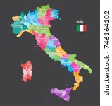 vector italy provinces map... | Shutterstock .eps vector #746164102