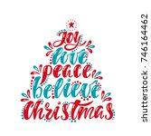 joy  love  peace  believe ... | Shutterstock .eps vector #746164462