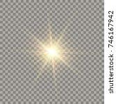 golden glowing vector sun with... | Shutterstock .eps vector #746167942