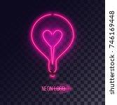 pink neon lightbulb logo with... | Shutterstock .eps vector #746169448