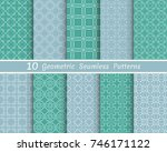 set of seamless line patterns.... | Shutterstock .eps vector #746171122