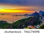 sunset view of copacabana and...   Shutterstock . vector #746174098