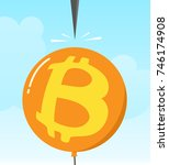 bitcoin sign balloon with... | Shutterstock .eps vector #746174908