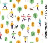 seamless park activity pattern. ... | Shutterstock .eps vector #746177182