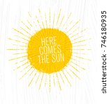 here comes the sun. whimsical... | Shutterstock .eps vector #746180935
