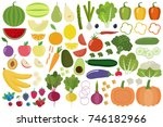 set of fresh healthy vegetables ... | Shutterstock .eps vector #746182966