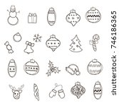 christmas new year symbols ... | Shutterstock .eps vector #746186365