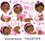 vector set with cute african... | Shutterstock .eps vector #746187595