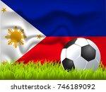 philippines flag and soccer ball | Shutterstock .eps vector #746189092