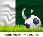 pakistan flag and soccer ball | Shutterstock .eps vector #746189242