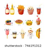 set of funny characters of... | Shutterstock .eps vector #746191312