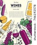 wines and gourmet snacks frame...   Shutterstock .eps vector #746192578