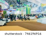 Small photo of Moscow, Russia, Expocenter VDNH - OCTOBER 4-7, 2017: Russian agro industrial exhibition Golden autumn. Business stand- hall for events and recreation
