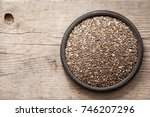 healthy chia seeds in a spoon... | Shutterstock . vector #746207296