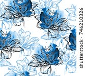Blue Seamless Floral Pattern ...
