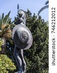 Small photo of Corfu, Greece – 14 September 2017.Statue of Achilles in Garden on the Island of Corfu