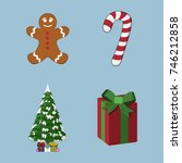 set of christmas  xmas icon.... | Shutterstock .eps vector #746212858