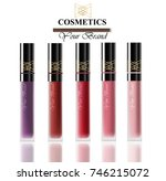 colorful realistick lipgloss... | Shutterstock .eps vector #746215072