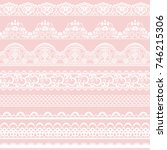 horizontally seamless pink lace ... | Shutterstock .eps vector #746215306