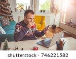 men wearing blue sweater...   Shutterstock . vector #746221582