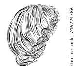 elegant crown braid  bridal...   Shutterstock .eps vector #746224786