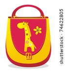 """Children's bag with sewn applique """"Giraffe"""" - stock vector"""