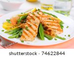 grilled salmon with spring... | Shutterstock . vector #74622844