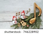 snowman with music notes ... | Shutterstock . vector #746228902
