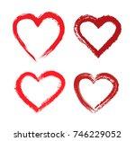 set of grunge hearts.vector... | Shutterstock .eps vector #746229052