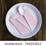 disposable plastic tableware...   Shutterstock . vector #746231812