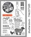 steak menu for restaurant and...   Shutterstock .eps vector #746237185