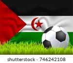 western sahara flag and soccer... | Shutterstock .eps vector #746242108