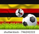 uganda flag and soccer ball | Shutterstock .eps vector #746242222
